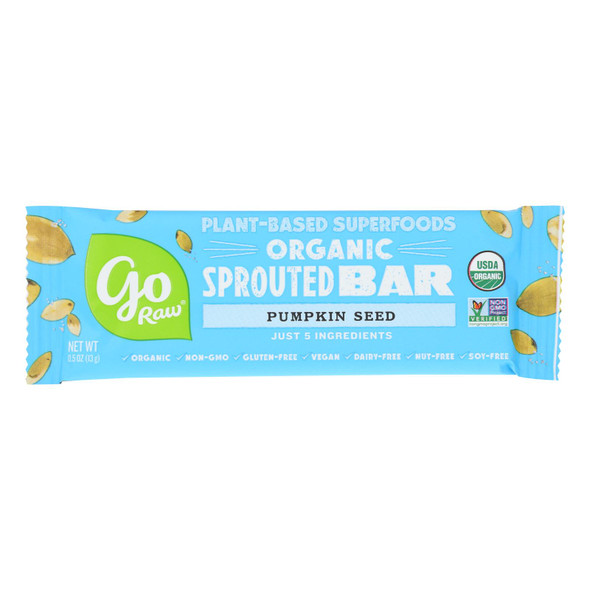 Go Raw - Organic Sprouted Bar - Pumpkin Seed  - Case Of 10 - 0.5 Oz.
