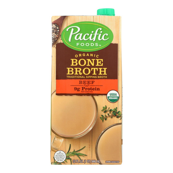 Pacific Natural Foods Organic Beef Bone Broth - Case Of 12 - 32 Fz