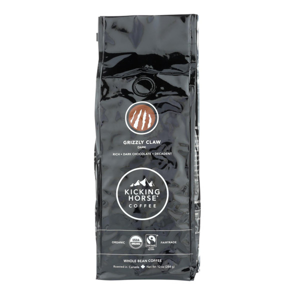 Kicking Horse Coffee - Organic - Whole Bean - Grizzly Claw - Dark Roast - 10 Oz - Case Of 6