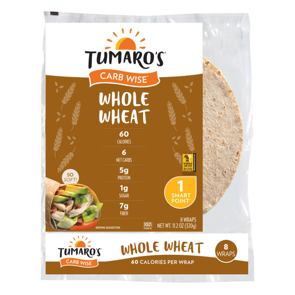 Tumaro's 8-inch Whole Wheat Carb Wise Wraps - Case Of 6 - 8 Ct