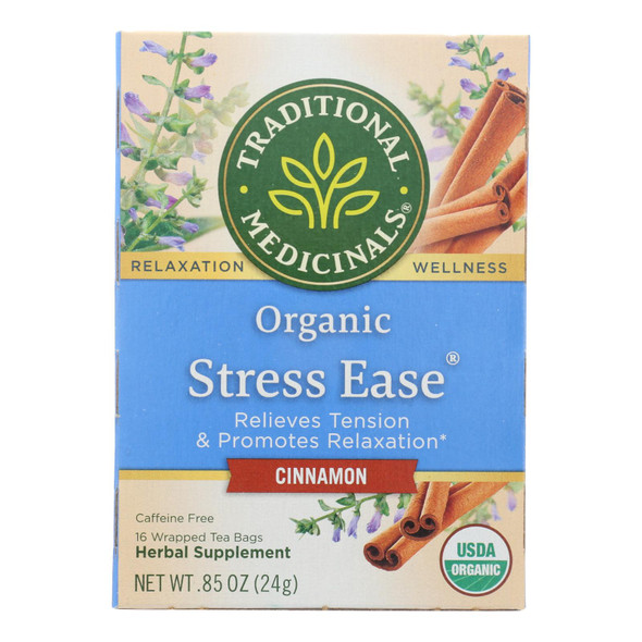 Traditional Medicinals Relaxation Tea - Stress Ease Cinnamon - Case Of 6 - 16 Bags