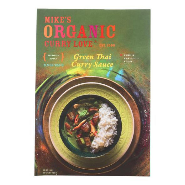 Mike's Organic Curry Love - Organic Curry Simmer Sauce - Green Thai - Case Of 6 - 8.8 Fl Oz.