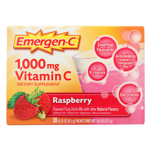 Alacer - Emergen-c Vitamin C Fizzy Drink Mix Raspberry - 1000 Mg - 30 Packets
