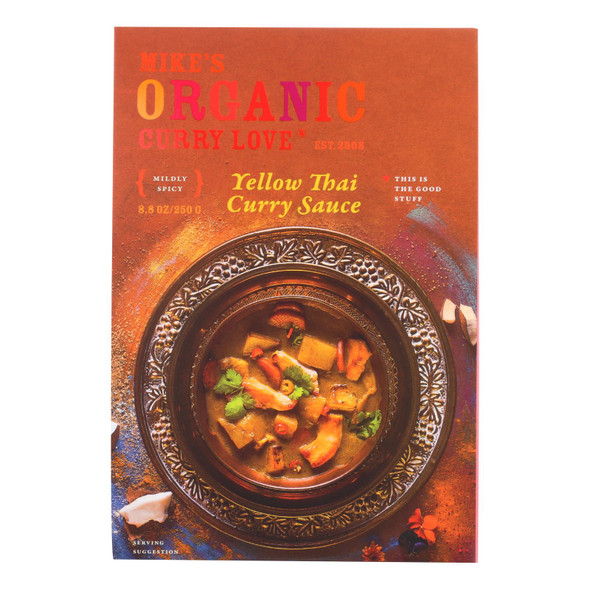 Mike's Organic Curry Love - Organic Curry Simmer Sauce - Yellow Thai - Case Of 6 - 8.8 Fl Oz.