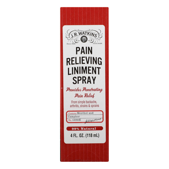 J.r. Waktins Natural Pain Relieving Liniment Spray - 4.0 Oz
