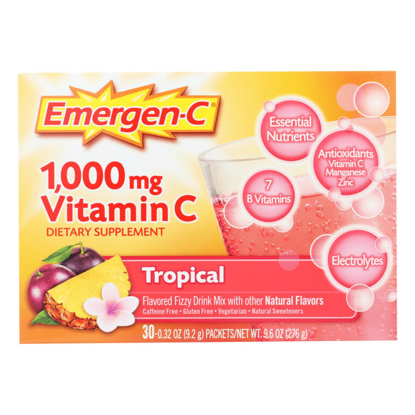 Alacer - Emergen-c Vitamin C Fizzy Drink Mix Tropical - 1000 Mg - 30 Packets