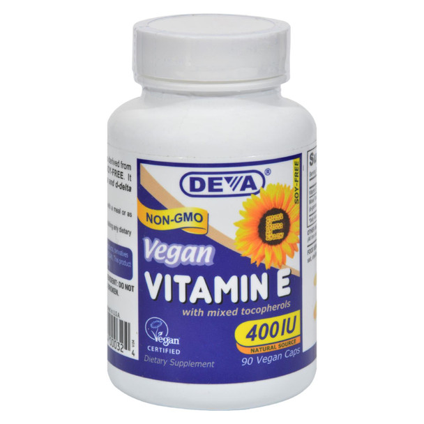 Deva Vegan Vitamins - Vitamin E With Mixed Tocopherols - 400 Iu - 90 Vegan Capsules