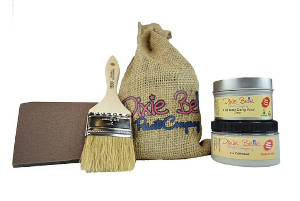 "4 oz Driftwood, 4 oz clear wax, chip brush, sanding sponge in a 6 x 10"" burlap sack"