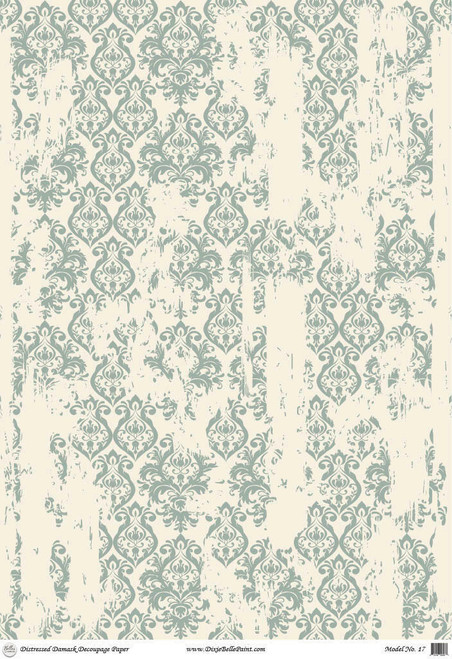 Distressed Damask - A1 Rice Decoupage Paper