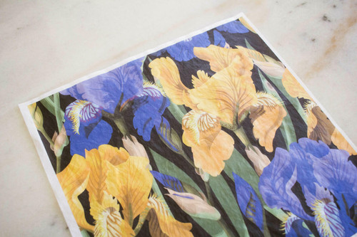 Belles and Whistles Floral on Black - Rice Decoupage Paper