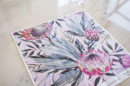 Belles and Whistles Tropical on Pink - Rice Decoupage Paper