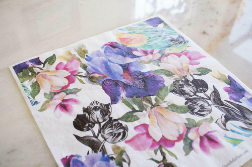 Belles and Whistles Colorful Floral with Black and White - Rice Decoupage Paper