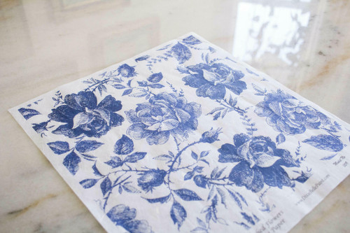 Belles and Whistles Blue Sketched Flowers - Rice Decoupage Paper