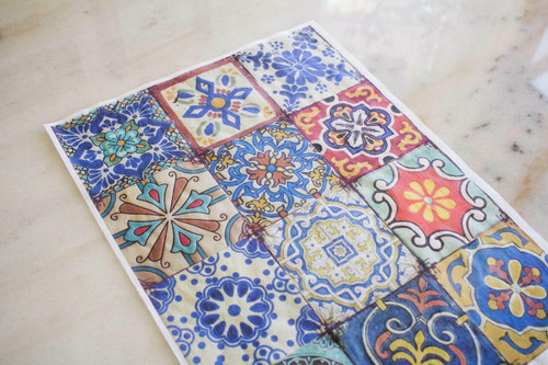 Belles and Whistles Colorful Tiles - Rice Decoupage Paper