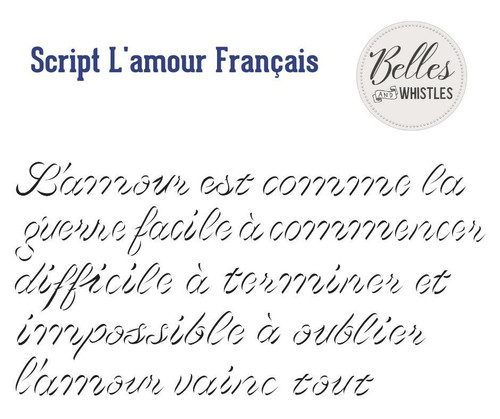 Belles and Whistles Script damour Francais Small- Stencil