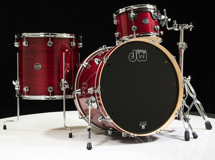 DW Performance Series 3pc Drum Kit Cherry Stain 12/16/22 Shallow