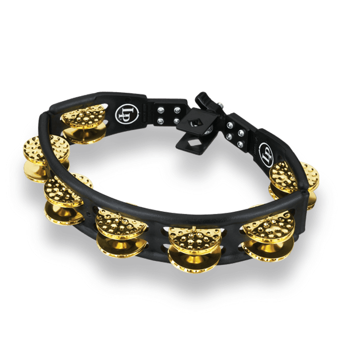 LP Cyclops Tambourines, Black, Dimpled Brass, Mounted