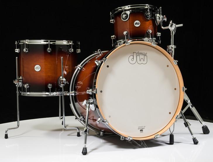 DW Design Series 3pc Drum Set - Tobacco Burst 12/16/22