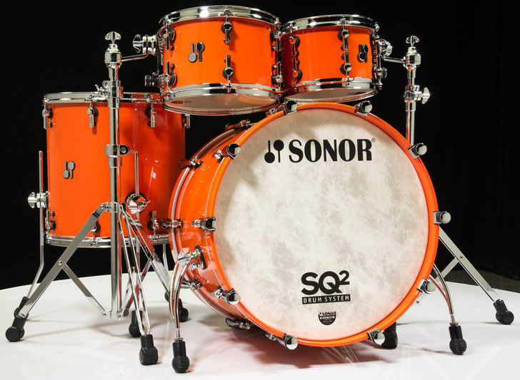 Sonor SQ2 Drums 4pc Beech Shell Pack - Pure Orange 10/12/16/22