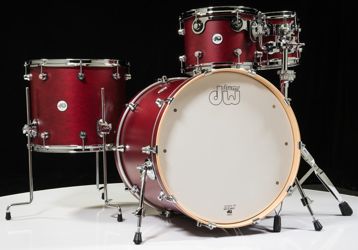 DW Design Series 4pc Drum Set - Dark Cherry 10/12/16/22
