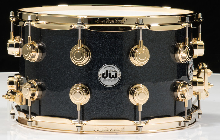 DW Collector's 8x14 Snare Drum Gun Metal Sparkle Glass Gold Hardware
