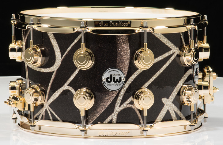 DW Collector's 8 x 14 Snare Drum Smoke Glass Contrail - Gold Hardware