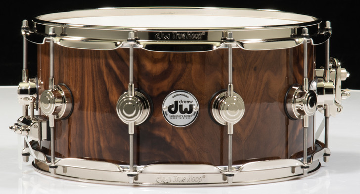 DW Collector's 6.5 x 14 Snare Drum Walnut Crotch - Nickel Hardware