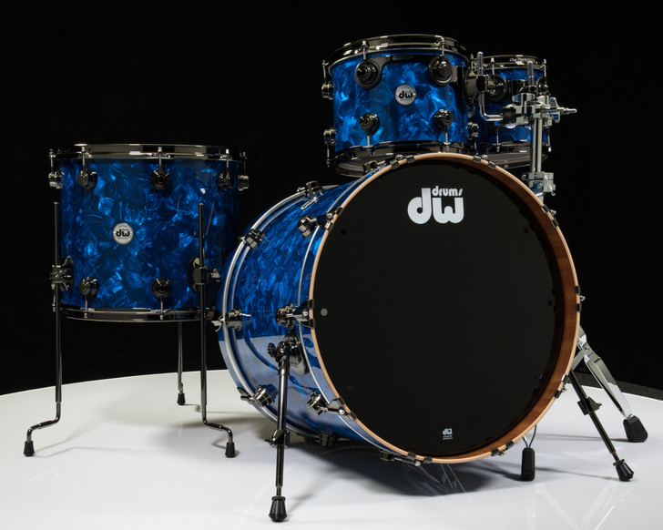 DW Collector's Series Maple Mahogany Drums 4pc Blue Moonstone