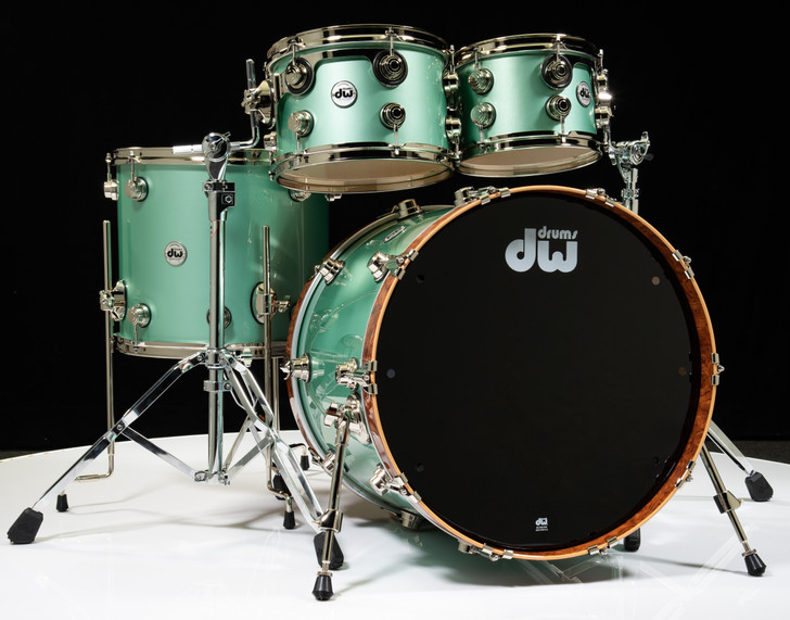 DW Collector's Maple/Spruce 4pc Shell Pack - Seafoam Pearl Lacquer