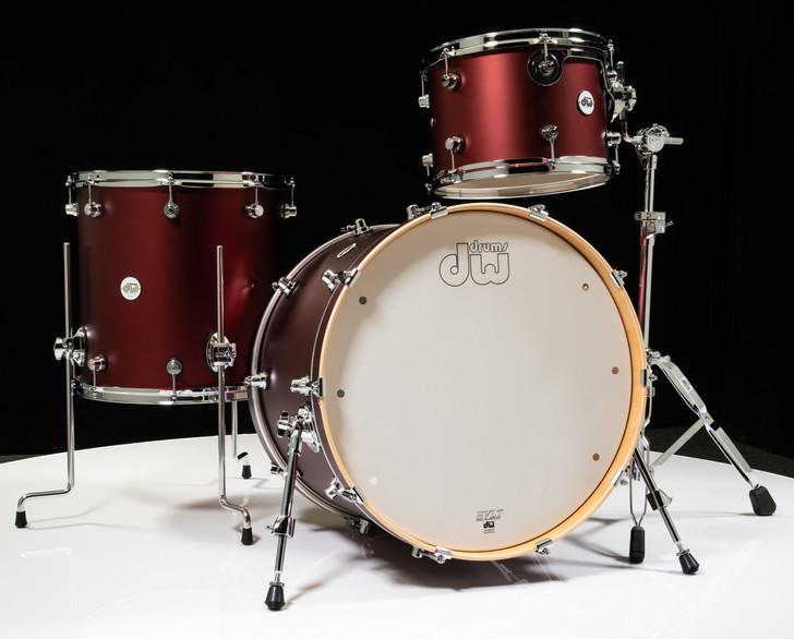 DW Design Series 3pc Drum Set 13/16/22 - Crimson Satin Metallic