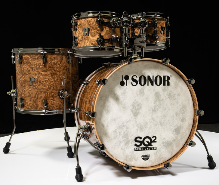 Sonor SQ2 4pc Birch Shell Pack Chocolate Burl w/Black Nickel