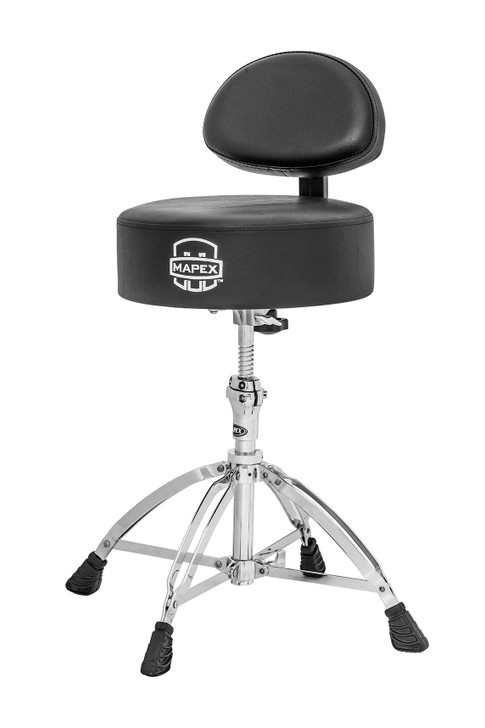 Mapex Round Top Drum Throne with Back Rest and 4 Double Braced Legs