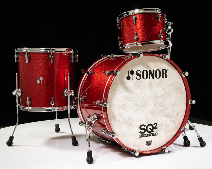 Sonor SQ2 Drums 3pc Vintage Maple Shell Pack - Red Sparkle