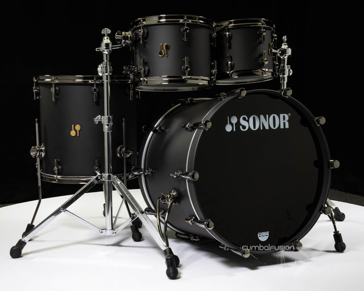 Sonor SQ2 Drums 4pc Maple Shell Pack - Dark Satin with Black Chrome