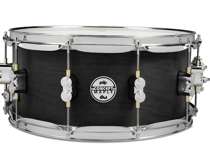 PDP Concept Maple 6.5x14 Black Wax Snare Drum Chrome HW
