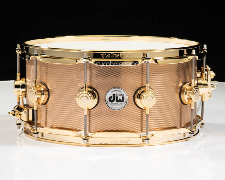 DW Knurled Bronze 6.5x14 Snare Drum w/Gold HW