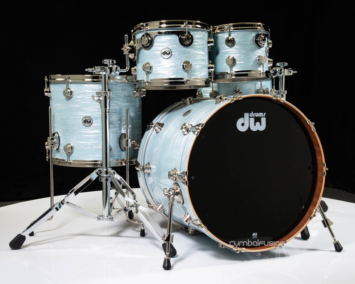 DW Collector's Cherry/Mahogany 5pc Shell Pack - Pale Blue Oyster