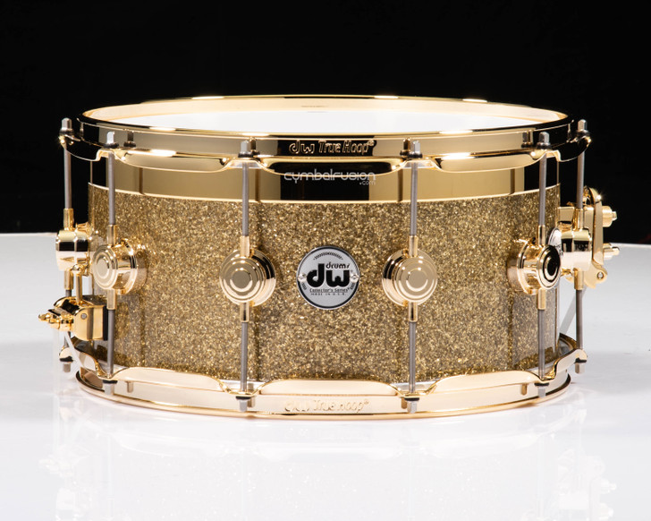 DW Collector's Series Gold Top Edge Snare 8x14 - Gold Glass - Gold HW