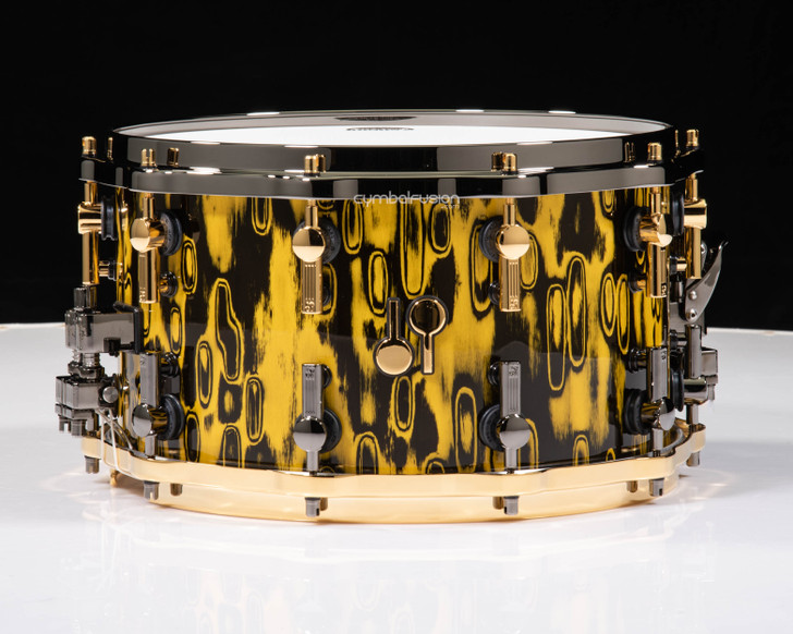 Sonor SQ2 14x8 Beech Snare Drum - Yellow Tribal - Tiger Interior