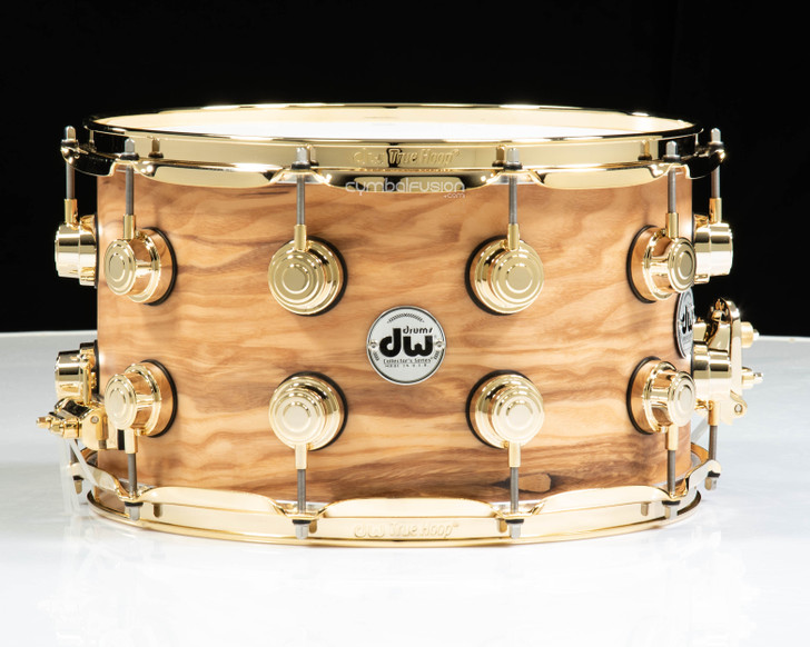 DW Collector's 8x14 Snare - Hard Satin over Olive Ash Burl  w/Gold HW