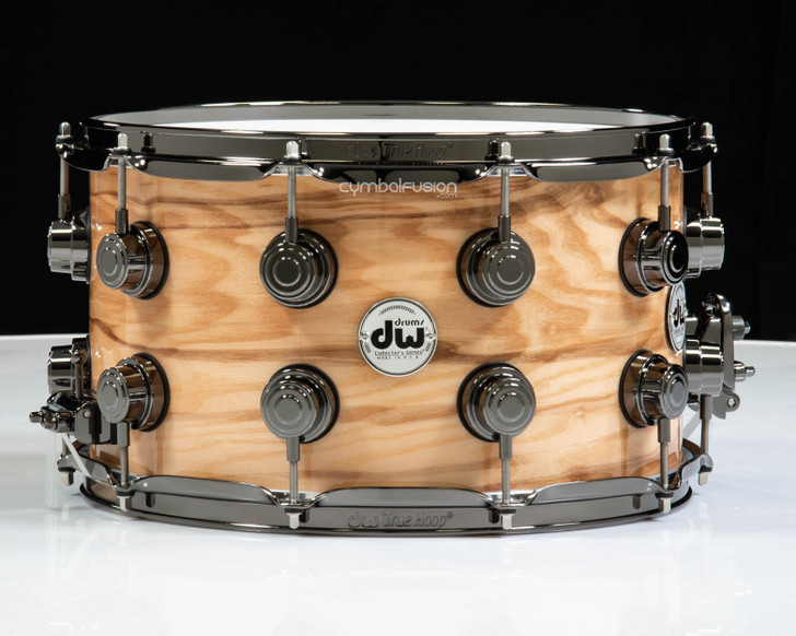 DW Collector's 8x14 Snare - High Gloss over Exotic Olive Ash Burl