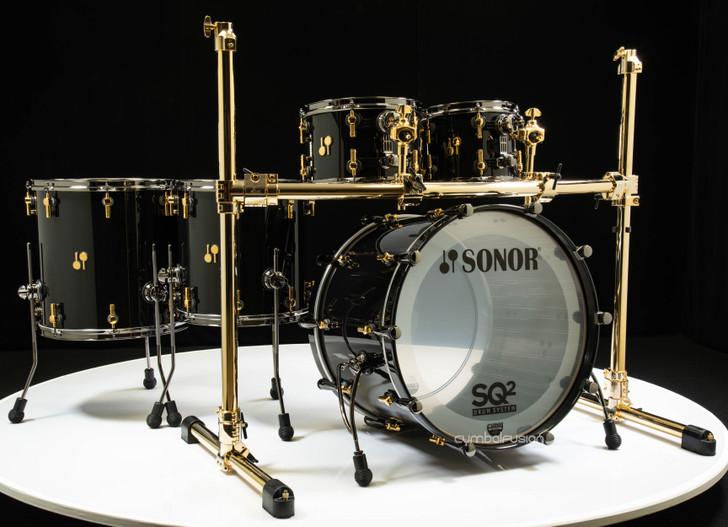 Sonor SQ2 5pc Birch Kit - Jet Black w/Ebony White Stripe Interior
