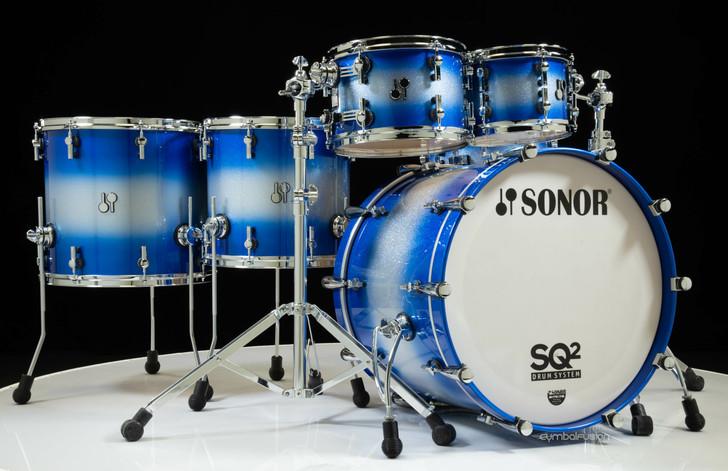 Sonor SQ2 6pc Maple Kit 10/12/14/16/22/13SD - Blue Silver Sparkle Burst