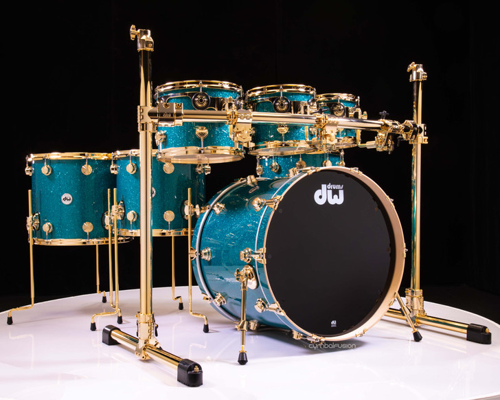 DW Collector's 7pc Maple SSC Shells Teal Glass w/Gold Hardware