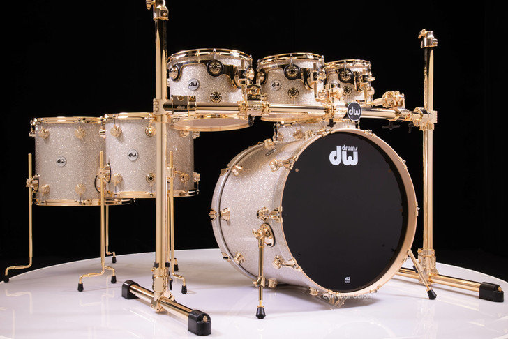 DW Collector's 7pc Maple SSC Shells Broken Glass w/Gold Hardware