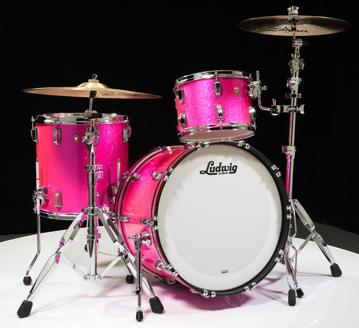 Ludwig Classic Maple FAB 3pc Shell Pack 13/16/22 - Pink Glitter