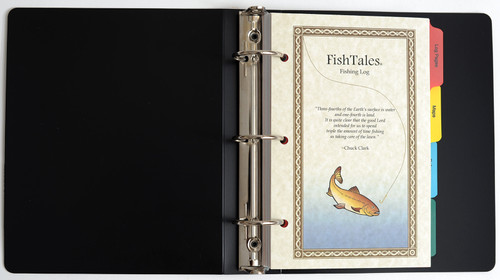 Fishing log with durable polyethylene cover and convenient 3 ring binder make it easy to move pages within your log book.