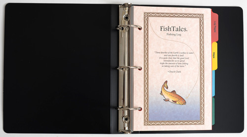 Fishing log with durable polyethylene cover and convenient 3 ring binder makes it easy to move pages within your log book.