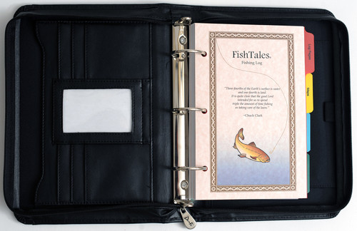 Ladies fishing log book in durable zippered Techyde . The three ring binder makes it easy to move pages about within your log book.
