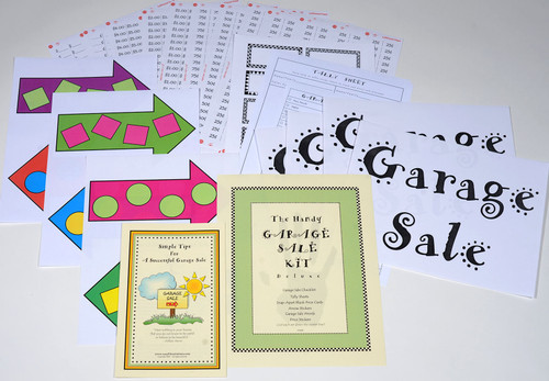 Making signs is a breeze with adhesive words and arrows, the handy price stickers will get your garage sale up and running fast!
